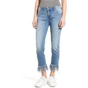 Sun & Shadow Fringe Cropped Jeans